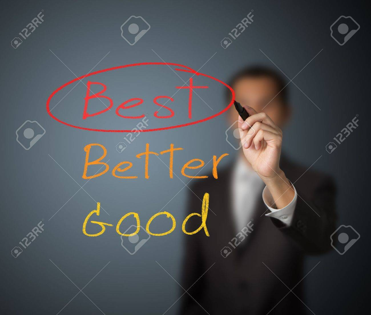 businessman writing mark on best choice Stock Photo - 13241777