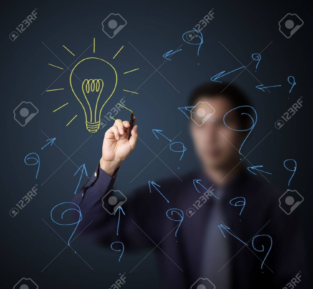 business man drawing problem or question and solution light bulb Stock Photo - 13241771