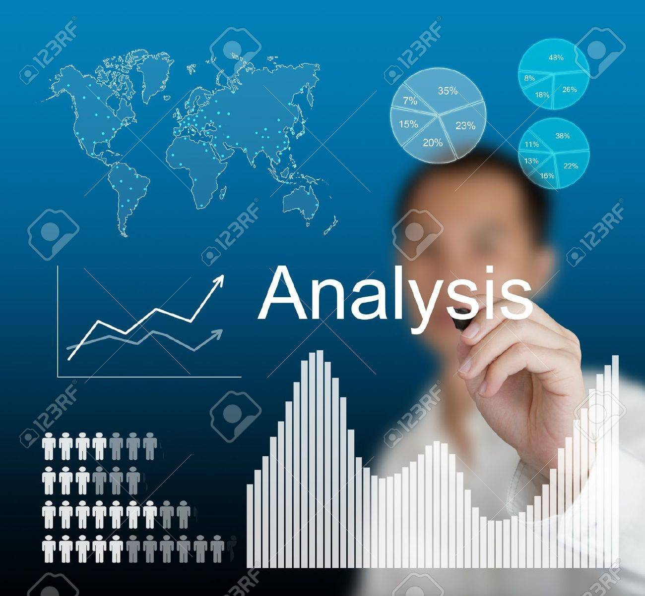 Business Man Writing Data Analysis Stock Photo, Picture And ...