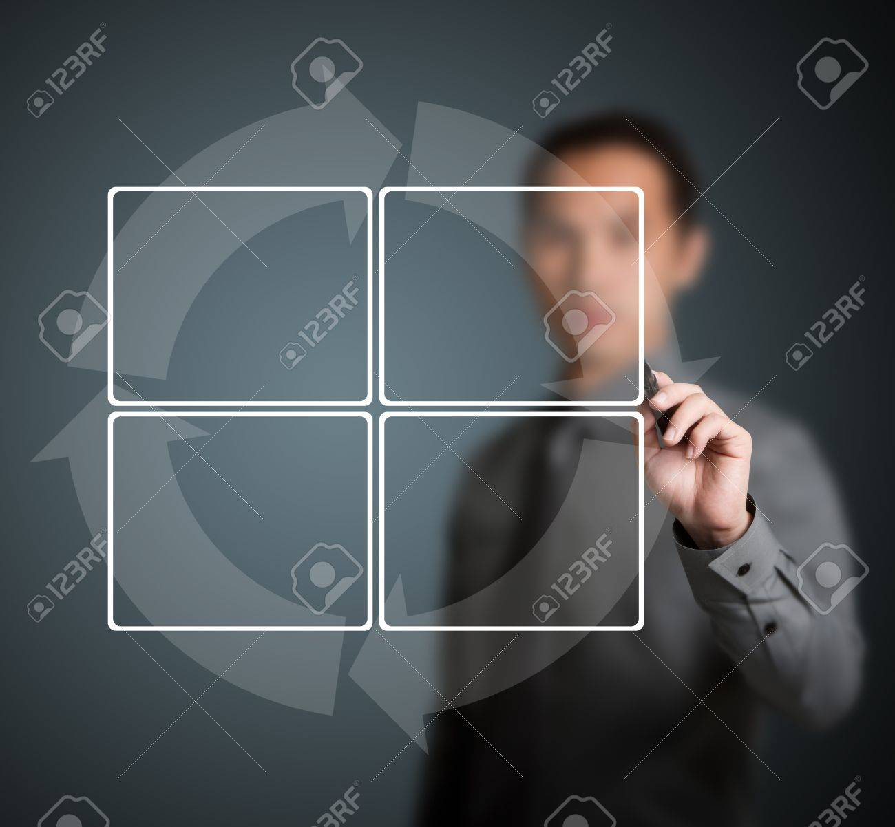 business man writing cycle diagram with 4 stage Stock Photo - 13241643