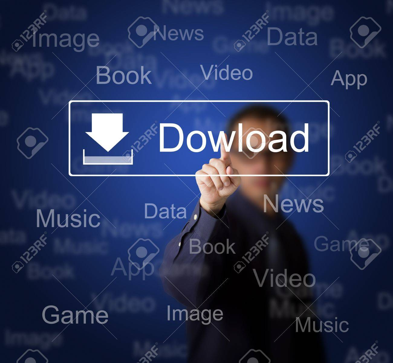 business man pressing download button on touch screen to obtain data from internet Stock Photo - 13241734