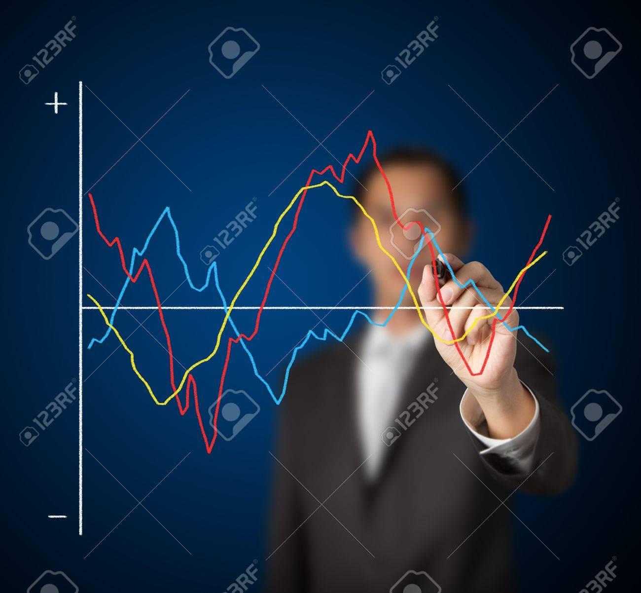 businessman drawing  comparing fluctuated graph Stock Photo - 13241747