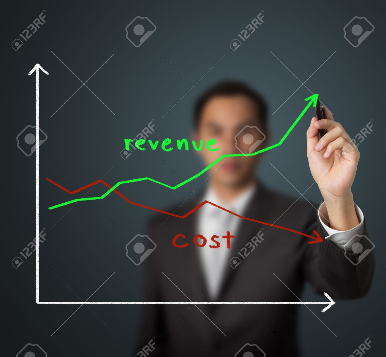 business man drawing graph of revenue compare with cost - 13241746