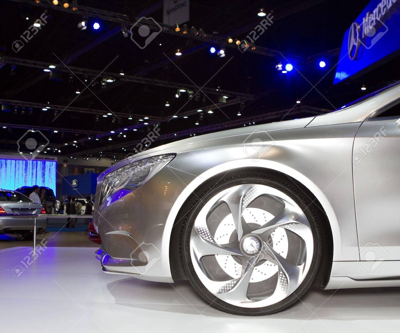 BANGKOK - APRIL 2: Mercedes Benz class A concept car wheel on display at the 33rd Bangkok International Motor Show on April 2, 2012 in Bangkok, Thailand. Stock Photo - 13244853