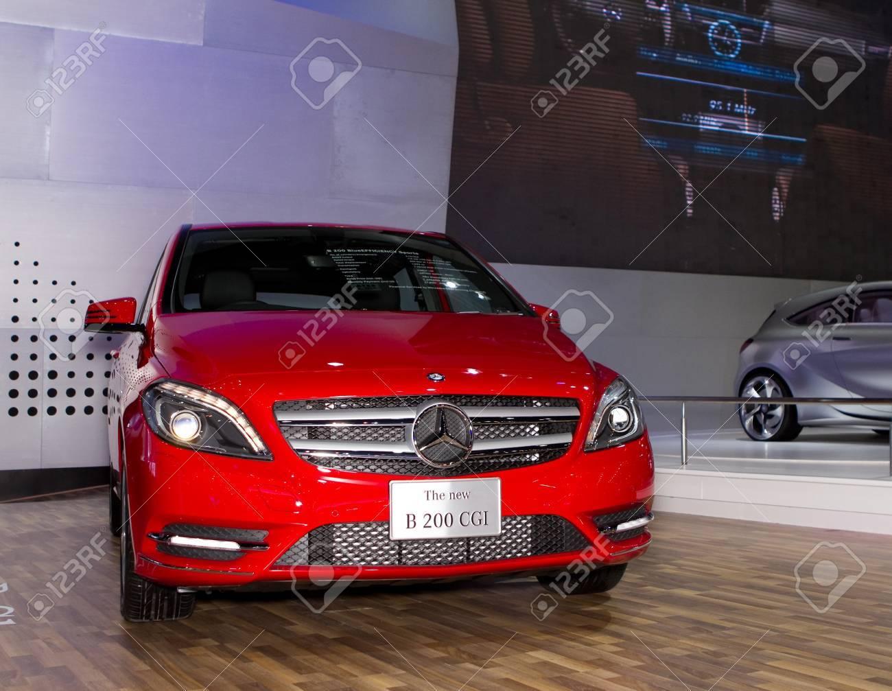 BANGKOK - MARCH 29: Mercedes Benz B 200 CGI car on display at the 33rd Bangkok International Motor Show on March 29, 2012 in Bangkok, Thailand. Stock Photo - 13244848