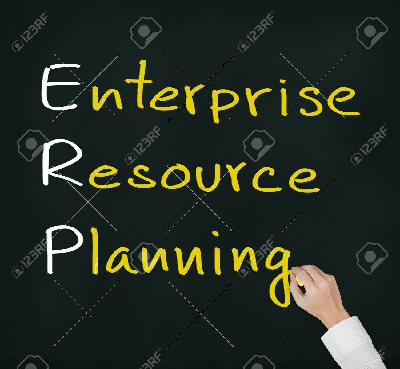 hand writing enterprise resource planning (ERP) system concept for supply material management business - 13338269