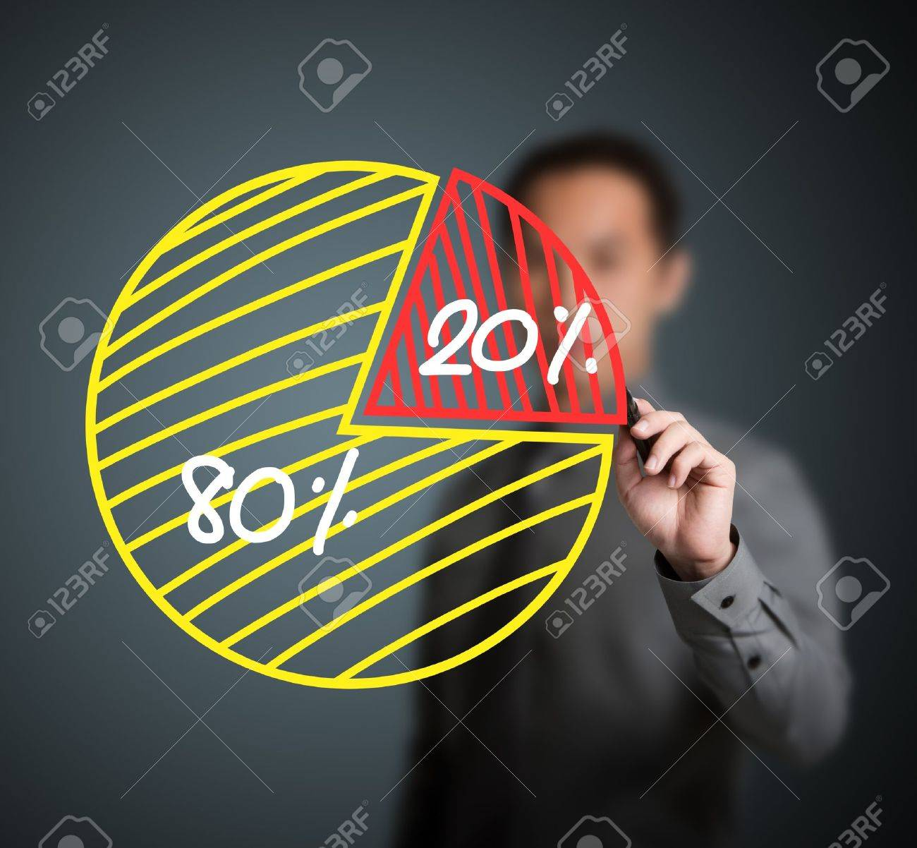 business man drawing 80 - 20 percent pie chart Stock Photo - 13417102