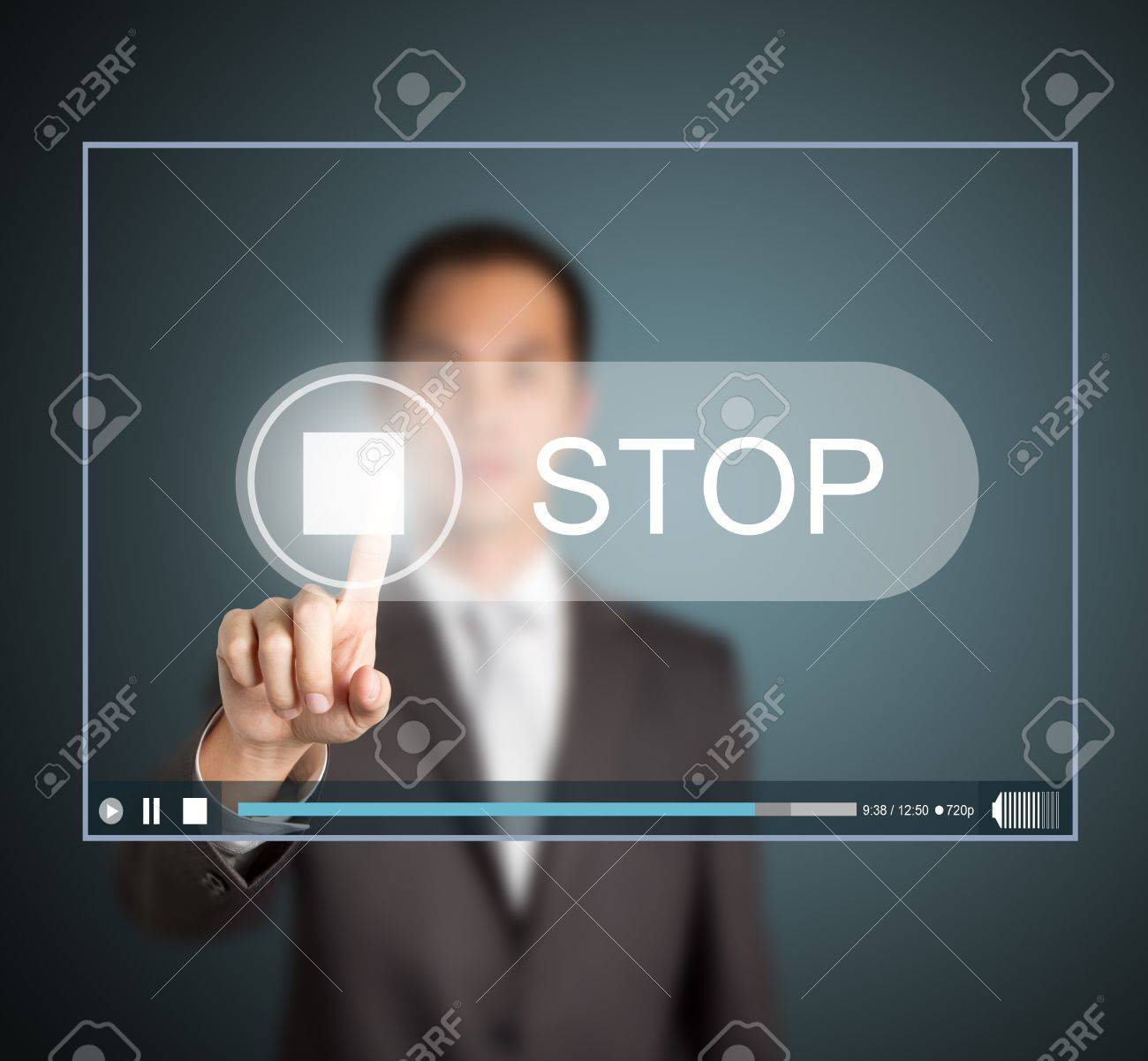 business man push stop button on touch screen to end video clip Stock Photo - 13826564