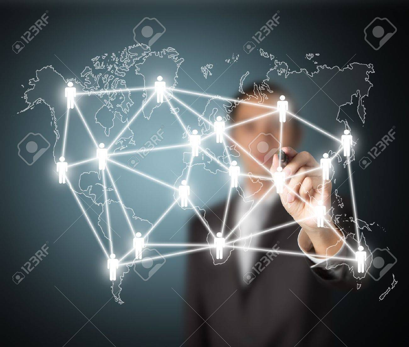 Business Man Writing Global Social Network Or People Management Connection Diagram Stock Photo 13946608