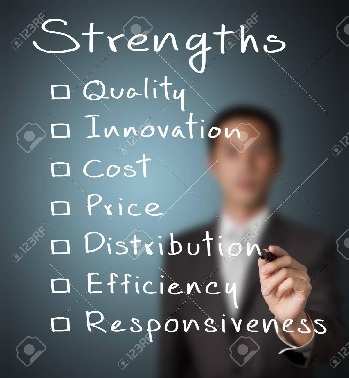 business man writing list of business strength quality innovation business man writing list of business strength quality innovation cost price distribution