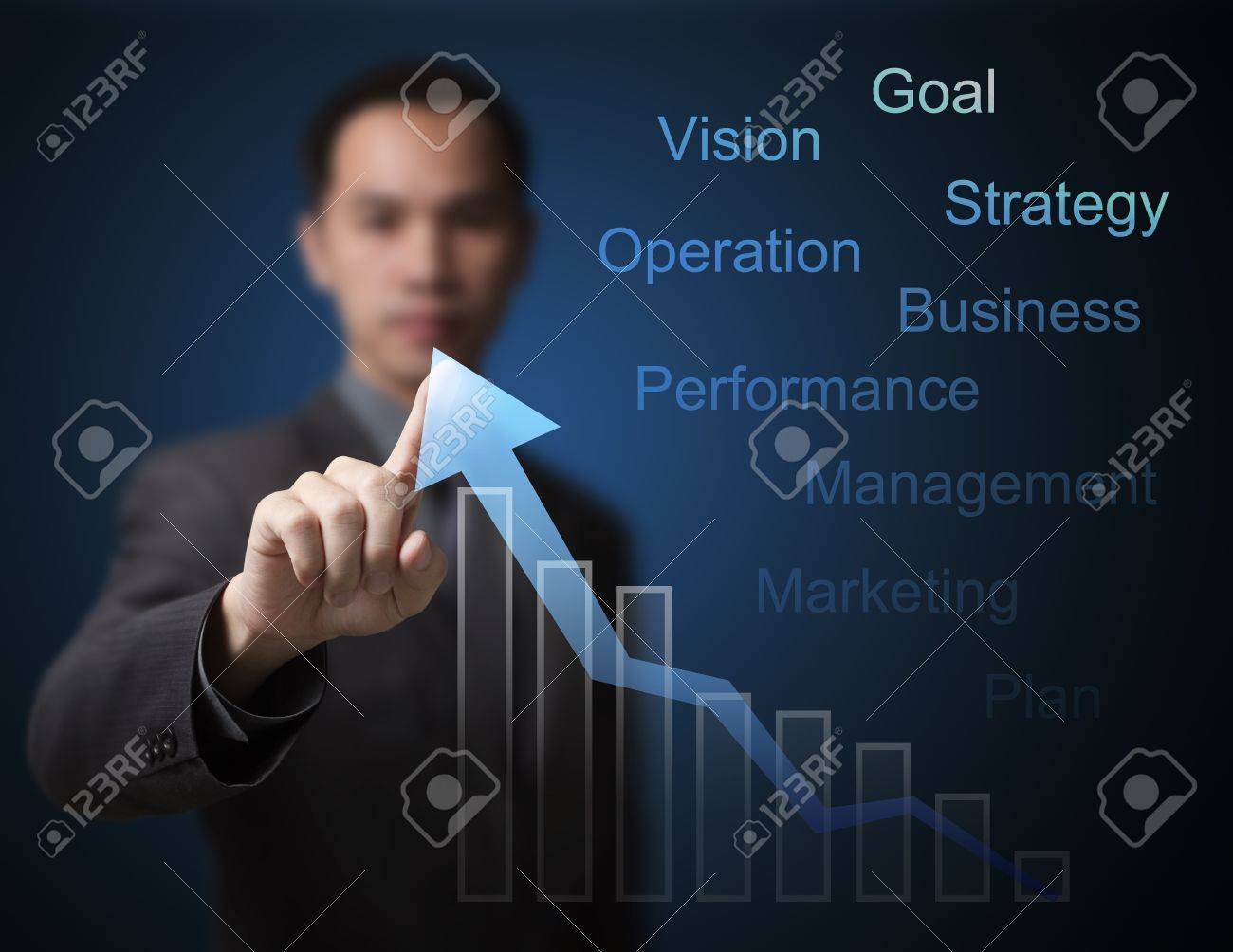 business man pointing at  growth graph and business concept Stock Photo - 14019933
