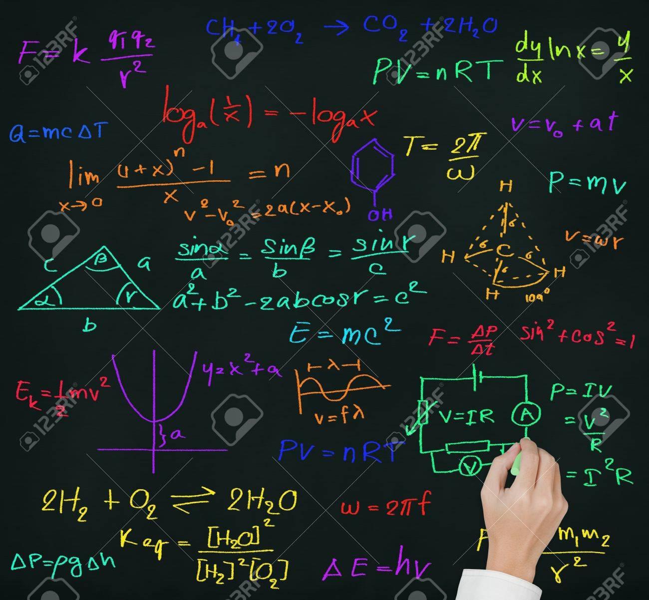 Teacher Hand Writing High School Maths And Science Formula On ...