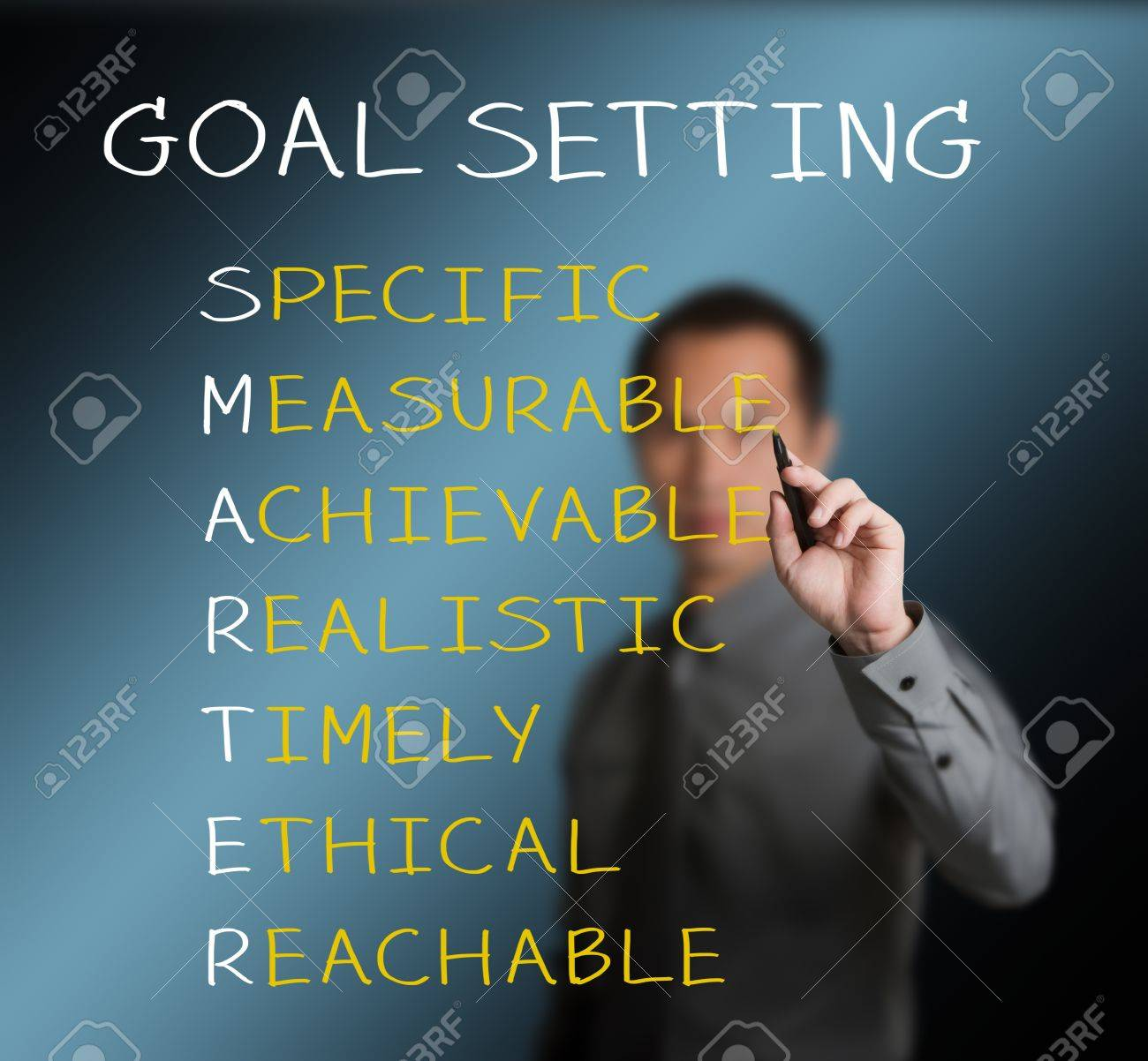 business man writing  concept of smarter goal or objective setting - specific - measurable - achievable realistic - timely - ethical - reachable Stock Photo - 14123804