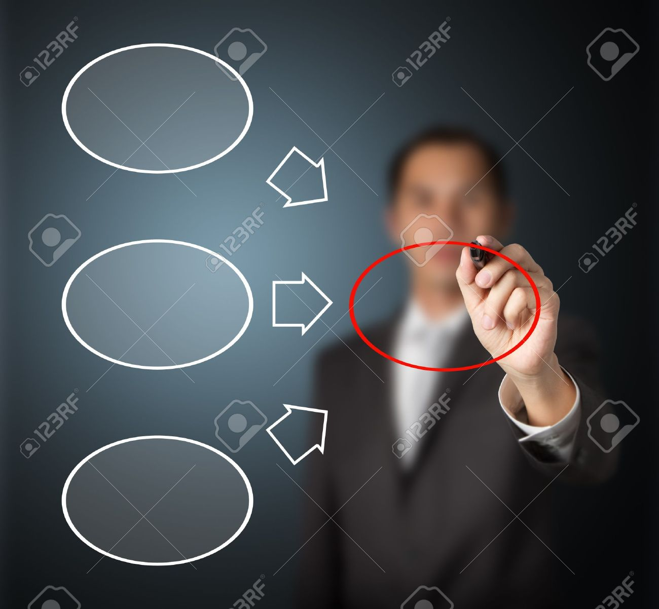business man writing three component and conclusion diagram in blank Stock Photo - 14228376