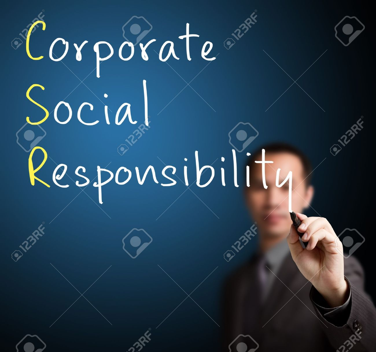 business man writing corporate social responsibility   CSR   concept Stock Photo - 14302173