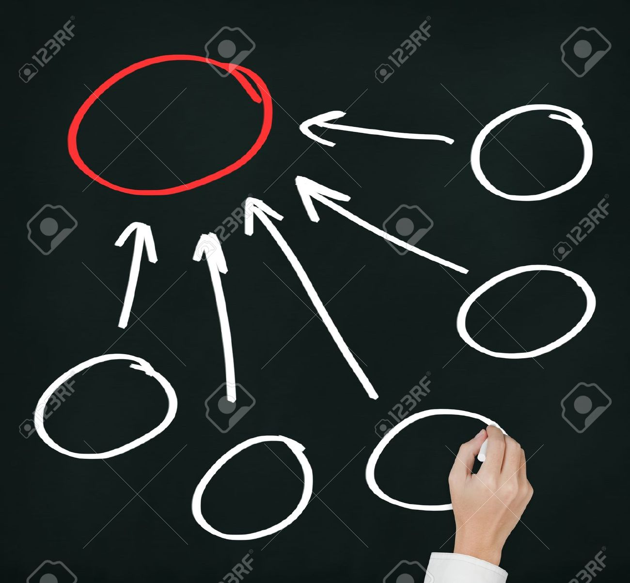 business hand writing five component and conclusion diagram in blank Stock Photo - 14369922