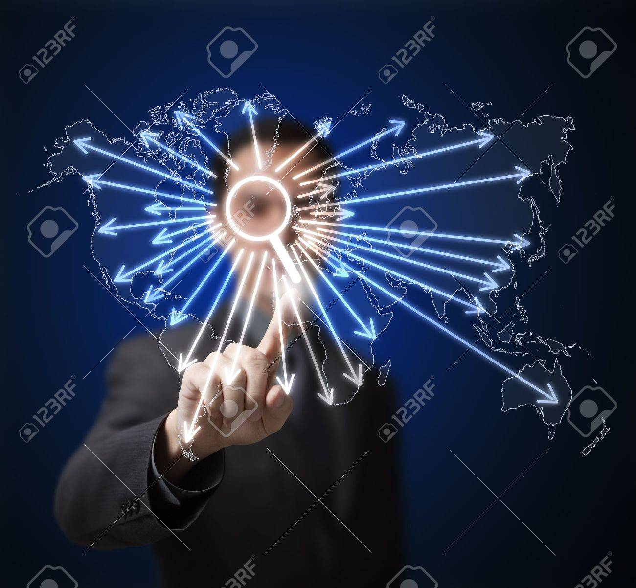 business man pressing search button on touchscreen to find anything on global network internet Stock Photo - 14637431
