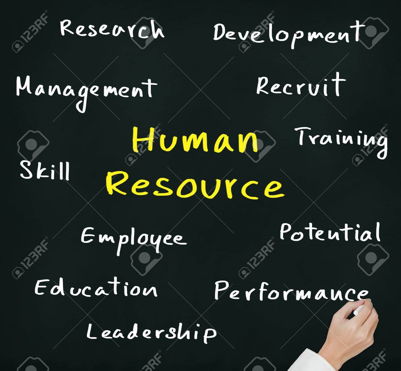 business hand writing human resource concept Stock Photo - 14723418