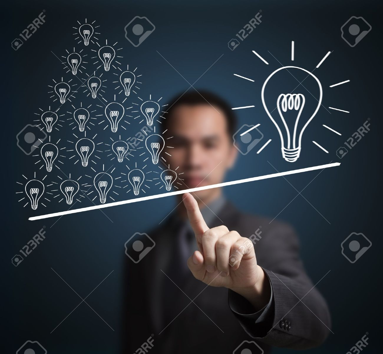Concept of many small ideas are more important than one big idea   Express by balance weight on business man finger tip Stock Photo - 14789896