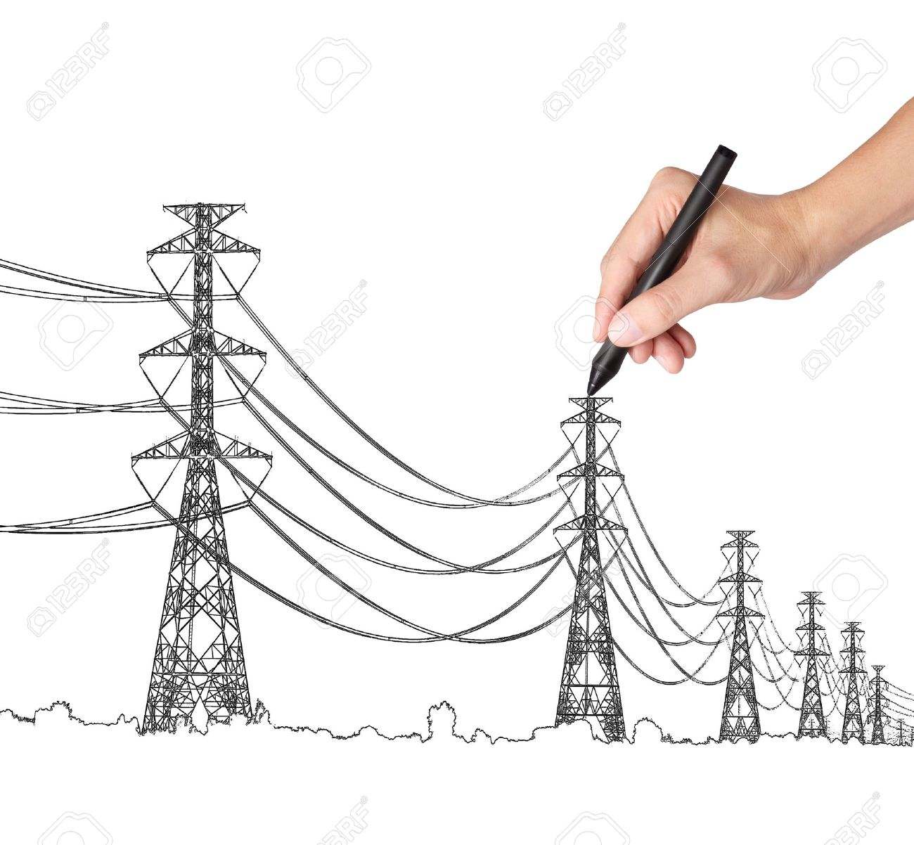 Business Hand Drawing Industrial Electric Pylon And Wire Stock Photo