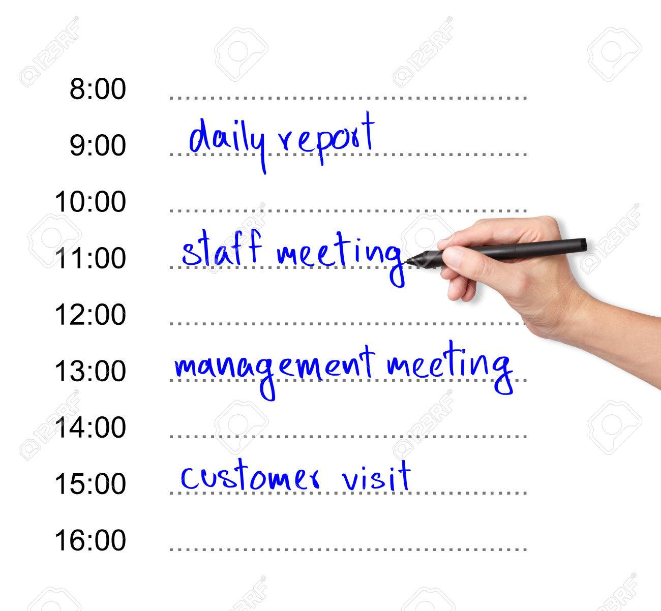 Business Hand Writing Daily Appointment Schedule Stock Photo ...