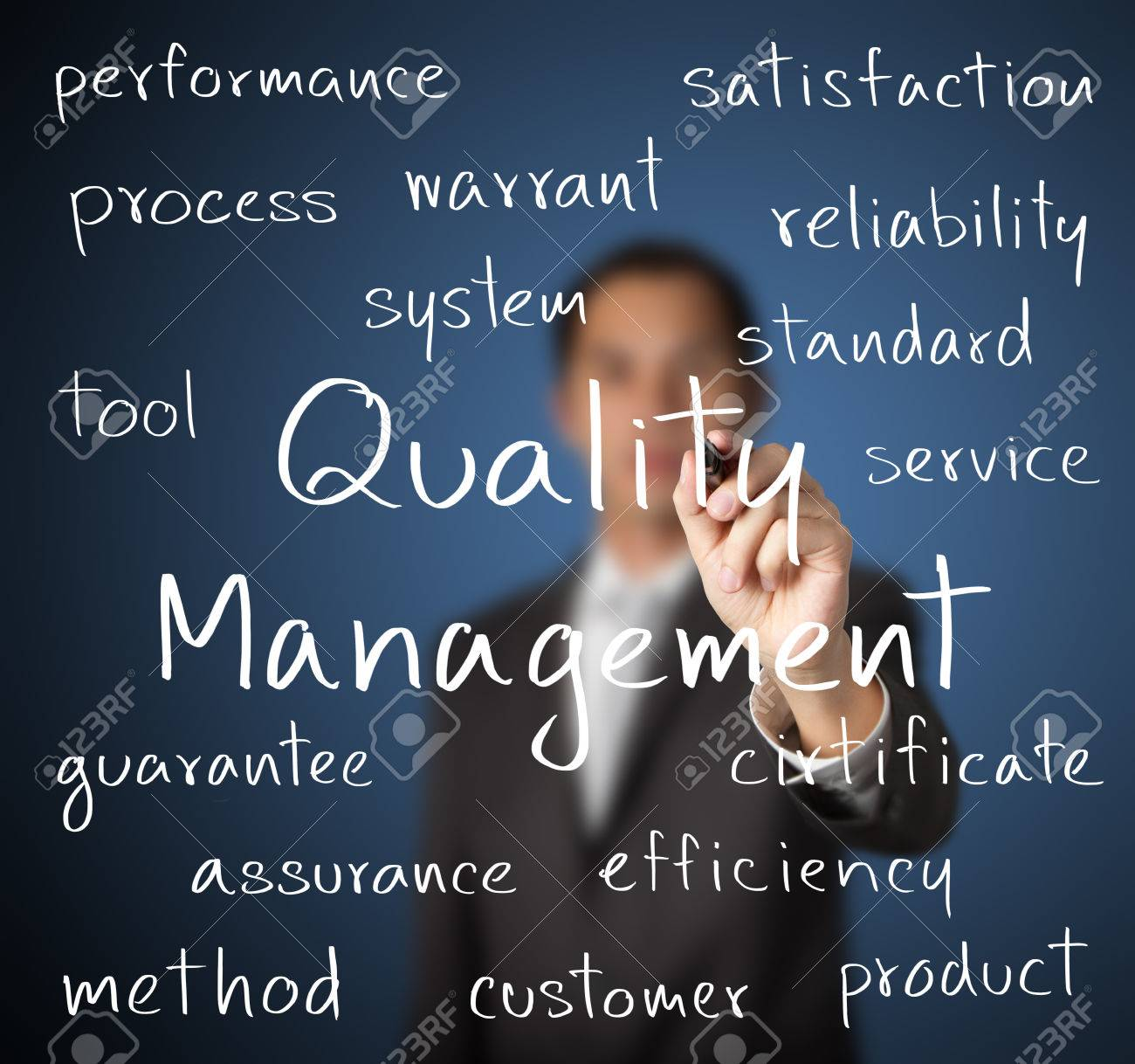 business man writing quality management concept Stock Photo - 24862522