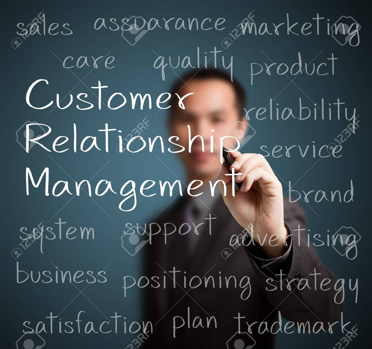 business man  writing customer relationship management  CRM  concept Stock Photo - 24961525