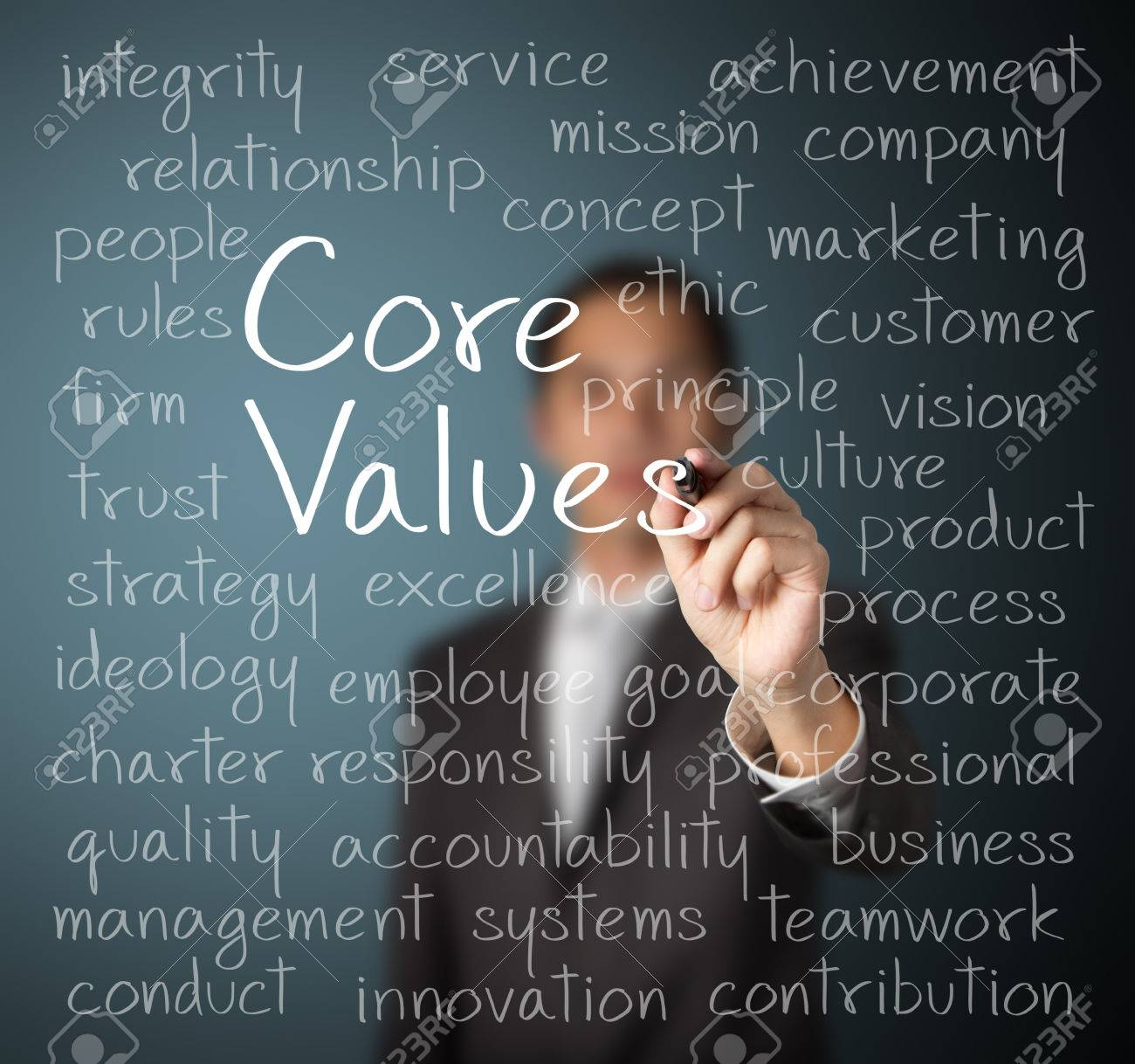 business man writing concept of core values - 25233025