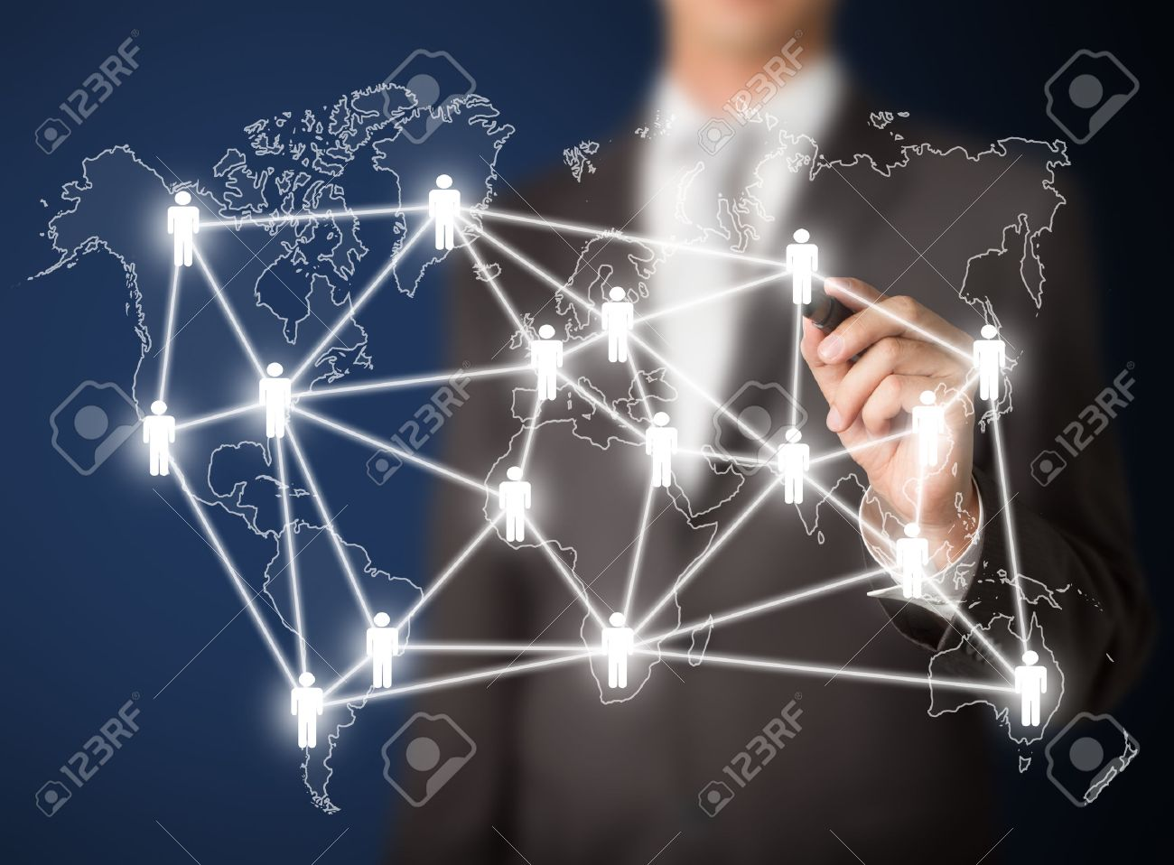 business man writing people management connection or global social network Stock Photo - 25168572