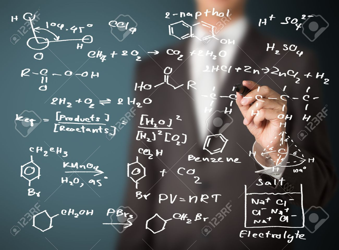 Chemistry Teacher Writing Science And Chemical Formula Stock Photo ...