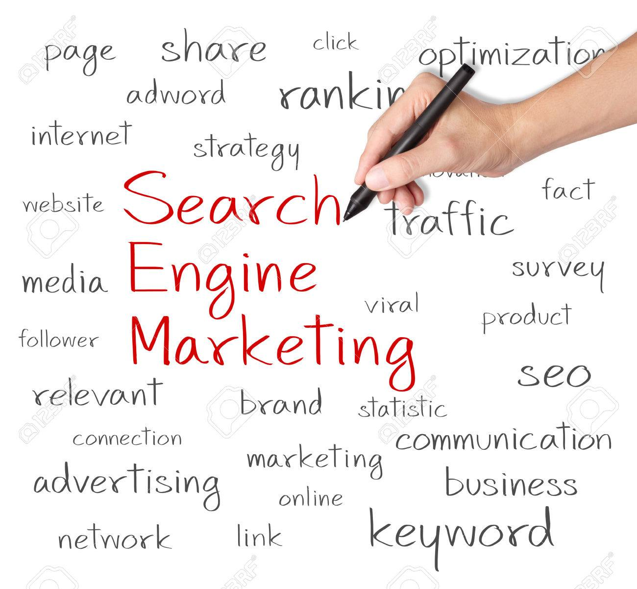business hand writing search engine marketing concept Stock Photo - 26052502