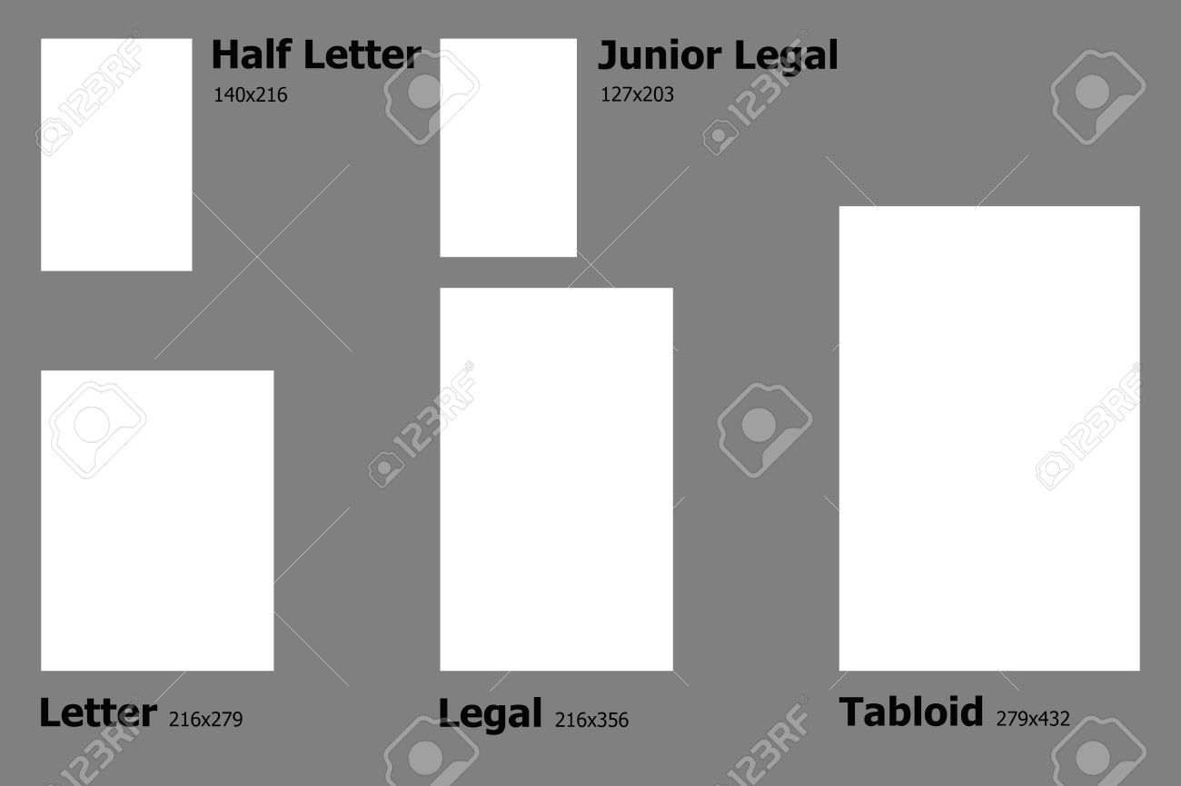example dimensions of u s paper sizes stock photo picture and