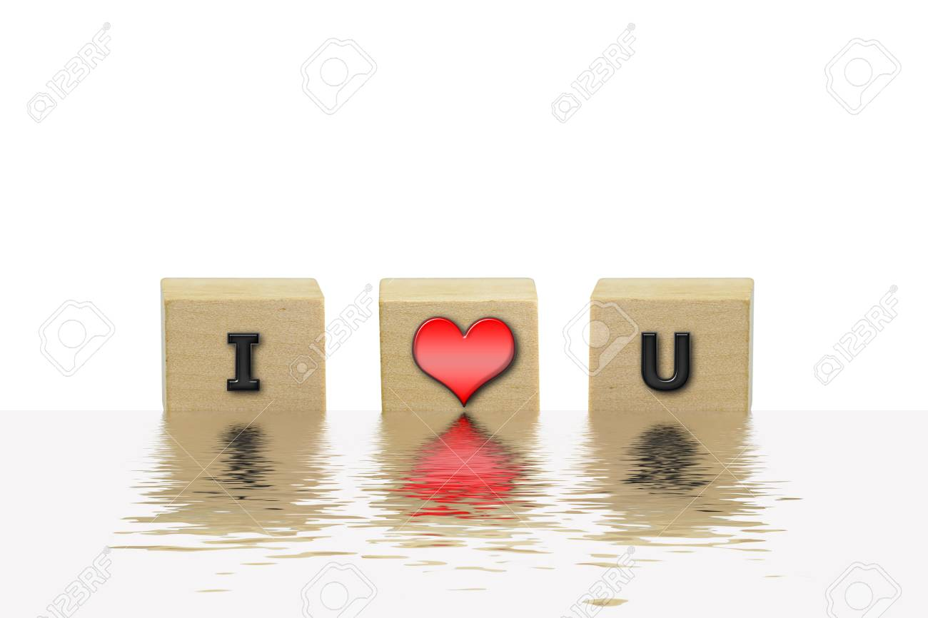 3d Illustration The Word I Love U On The Wooden Box Dip In Water