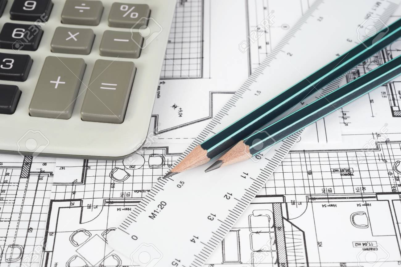 Architectural project, pencil, rulers and calculator - 35820271