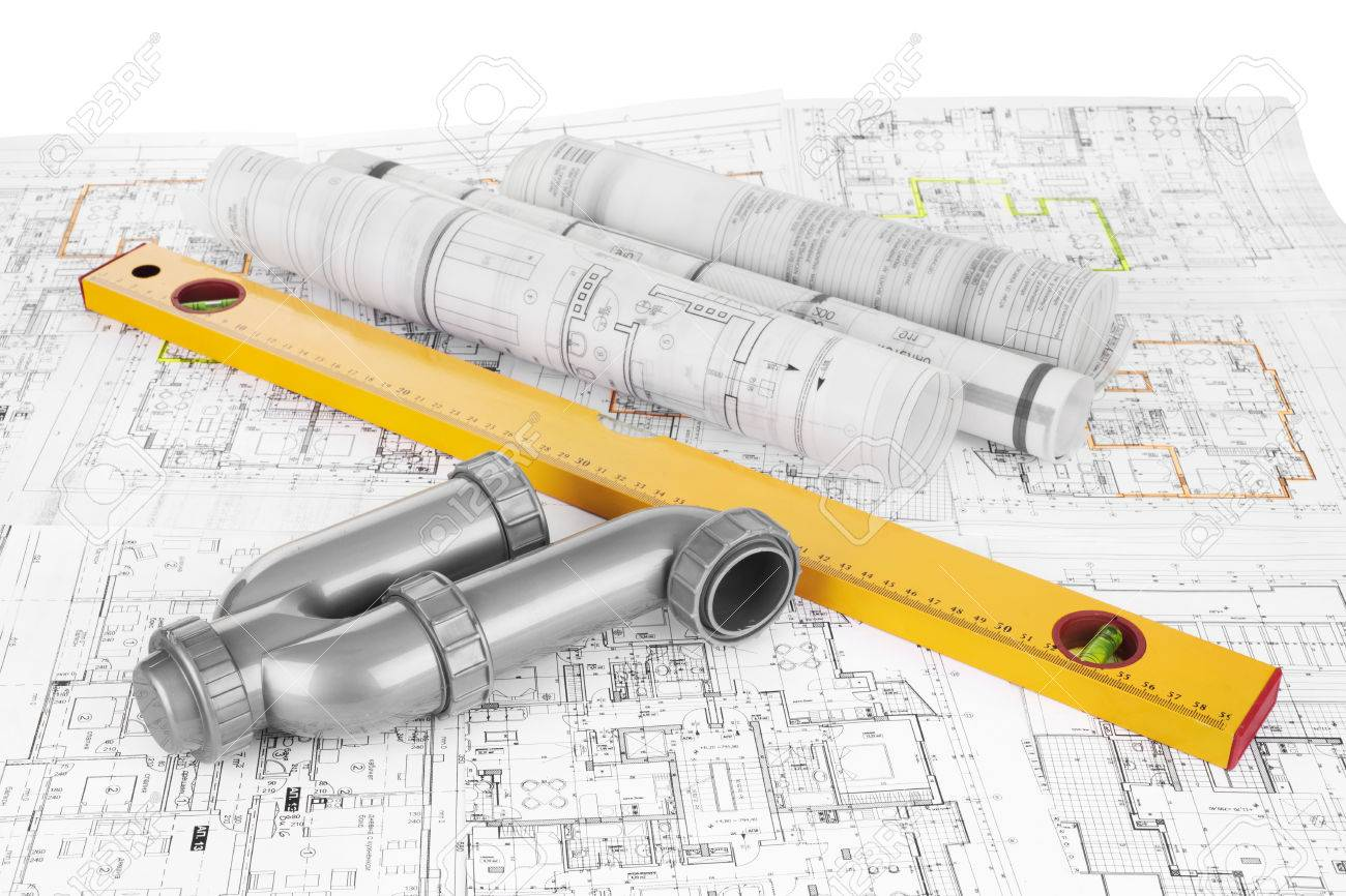 project drawings, level and siphon for sewer - 35876625