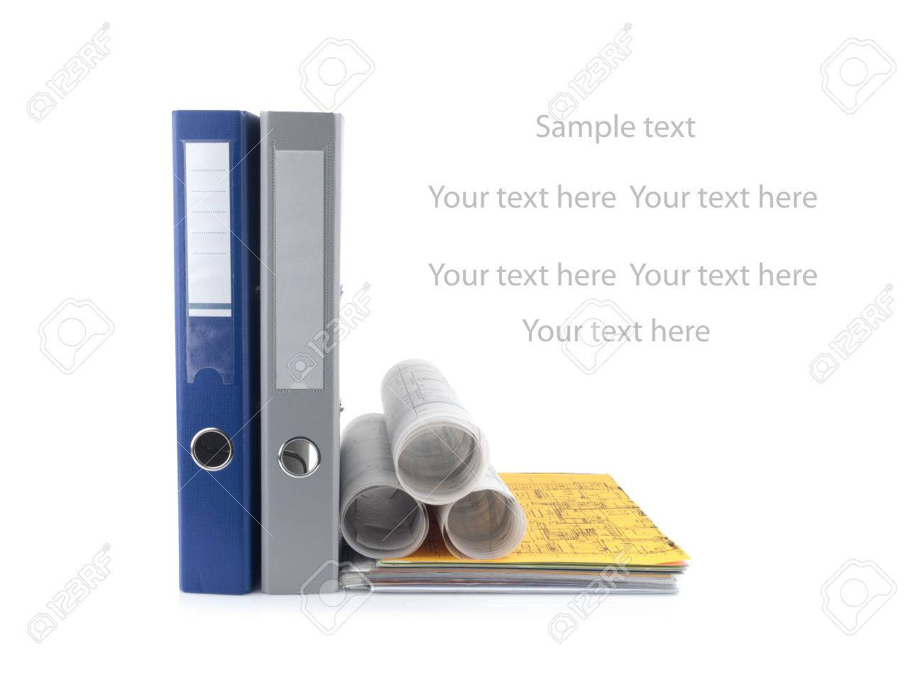 Blue and grey folder document and project drawings, isolated on white background - 35996514