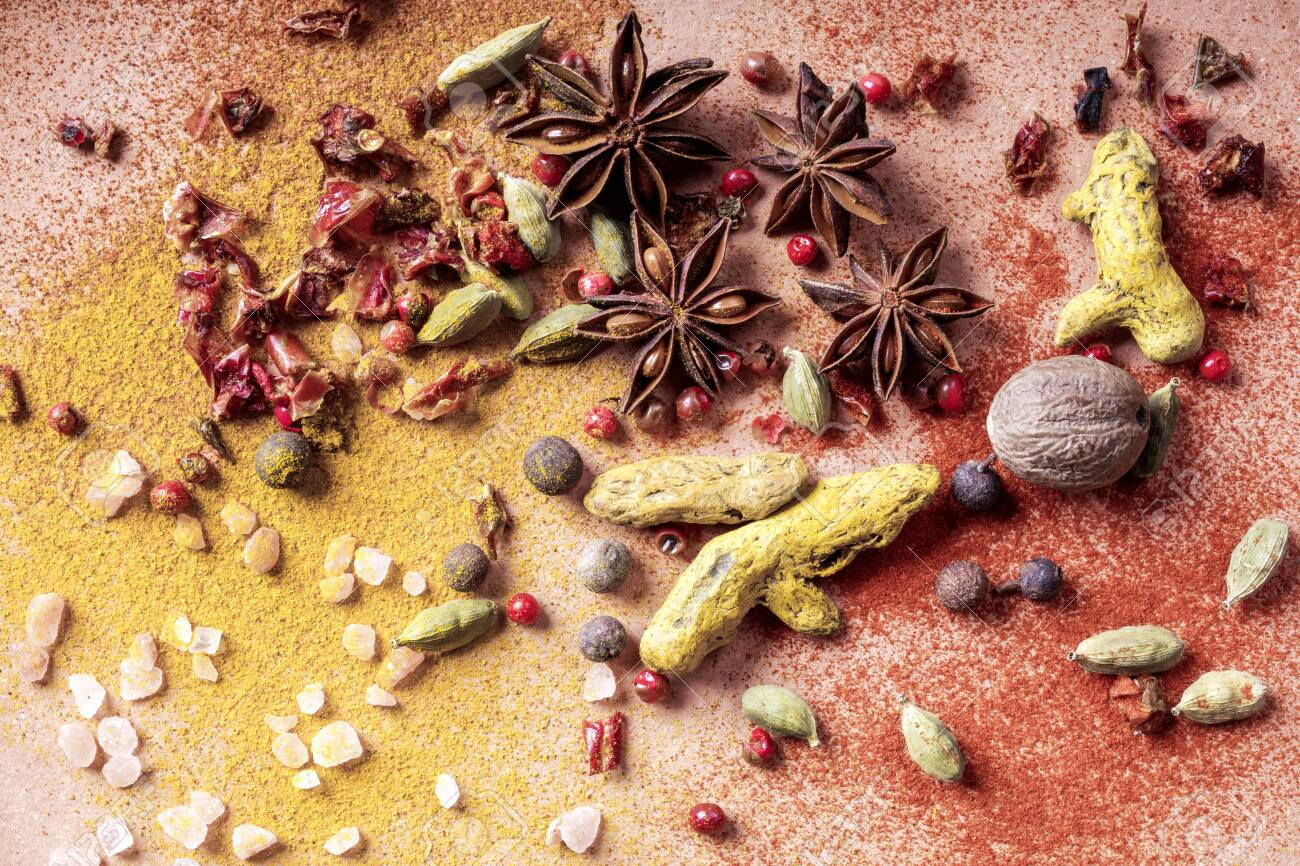 mix of different types of spices - 133406773