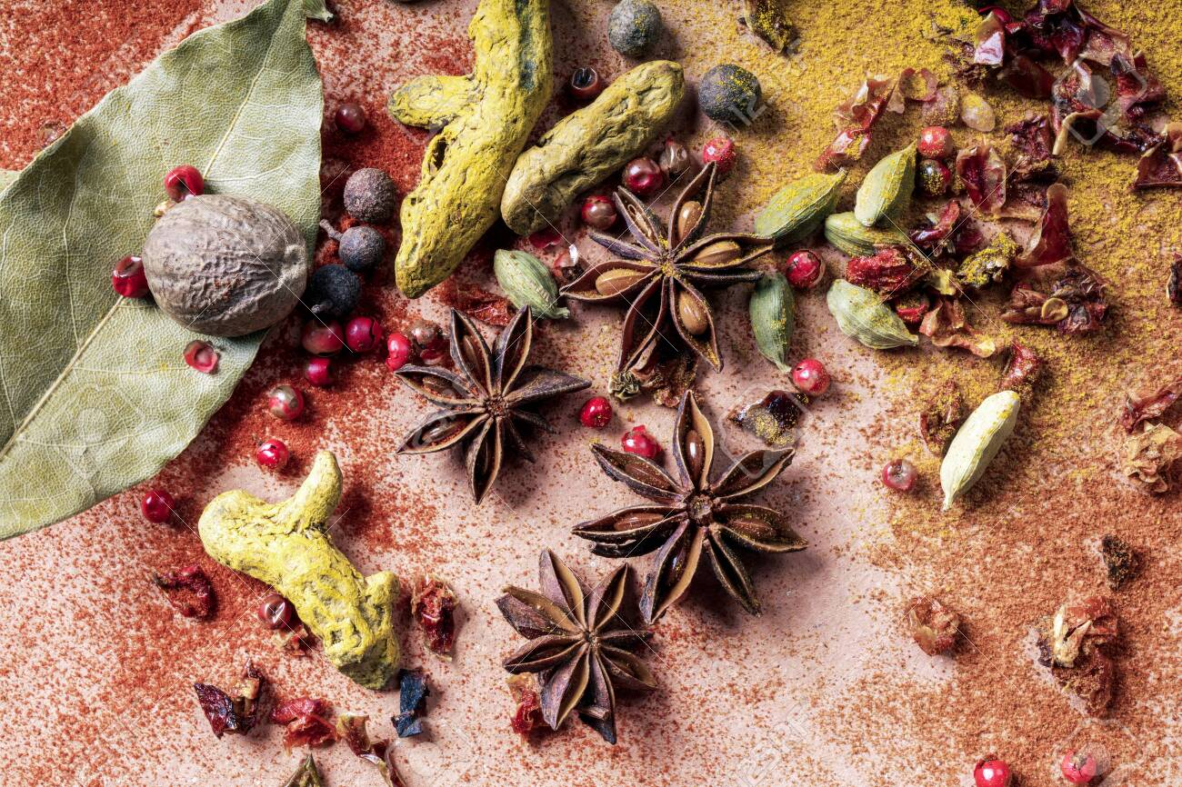 mix of different types of spices - 133406774