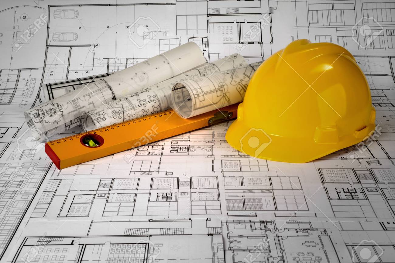 Yellow helmet, level and project drawings - 99910668
