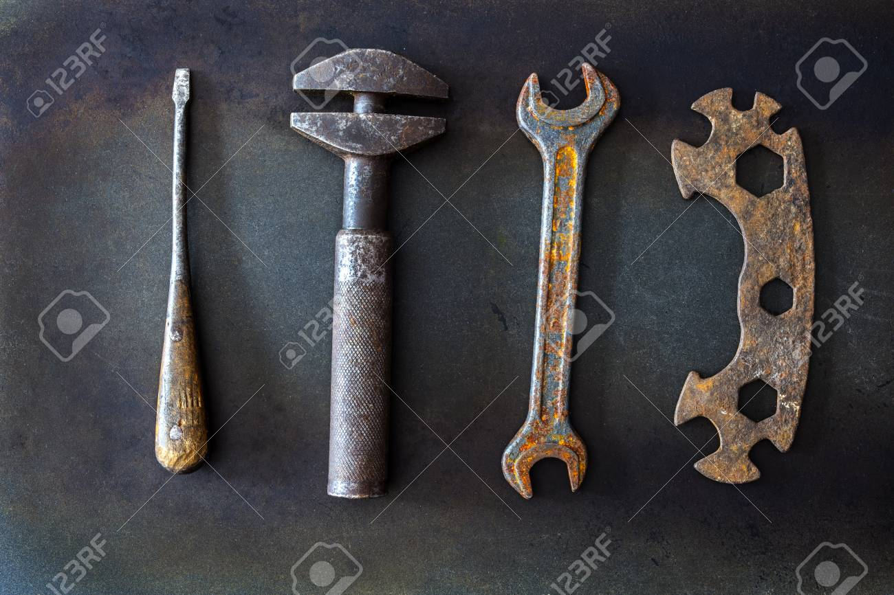 old tools on background - 101524184