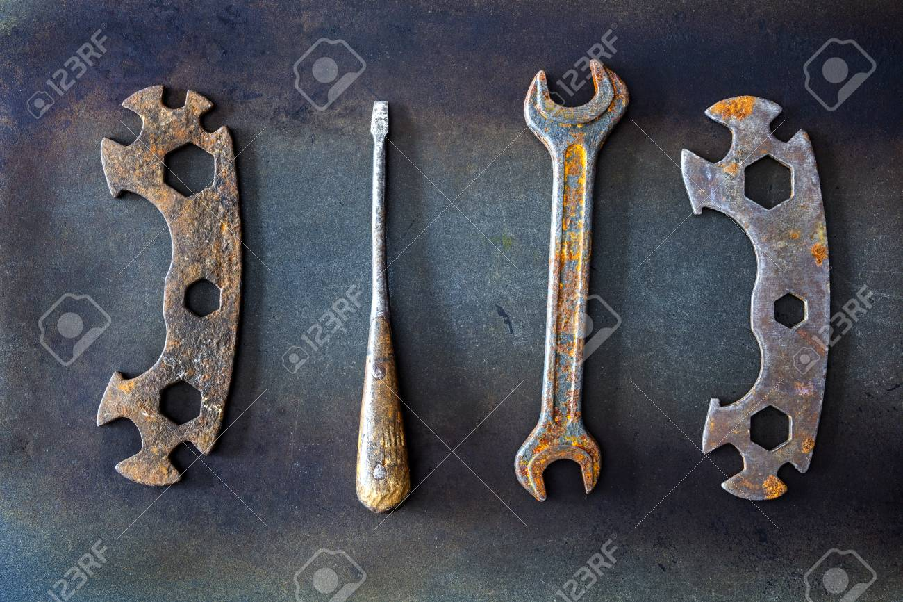old tools on background - 101533432