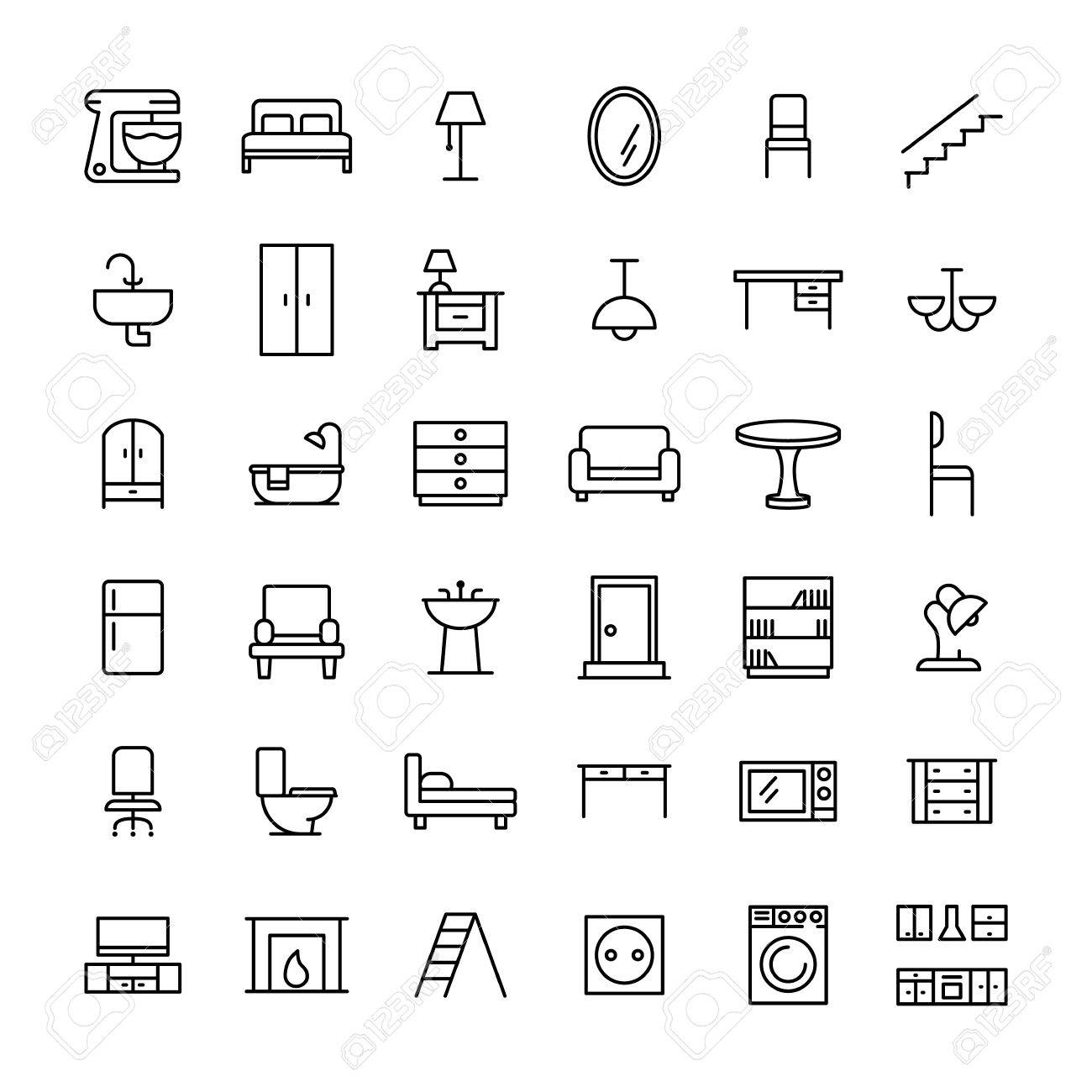 Set of furniture icons in modern thin line style high quality set of furniture icons in modern thin line style high quality black outline home symbols buycottarizona Image collections