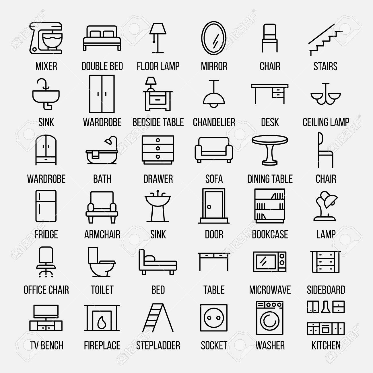 Conjunto De Iconos De Los Muebles En Estilo De Línea Delgada Moderna ...