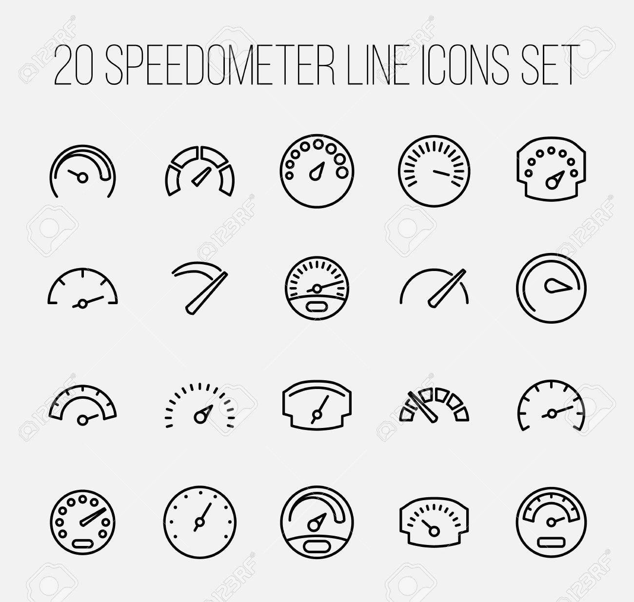 Set of speedometer icons in modern thin line style high quality set of speedometer icons in modern thin line style high quality black outline odometer symbols buycottarizona