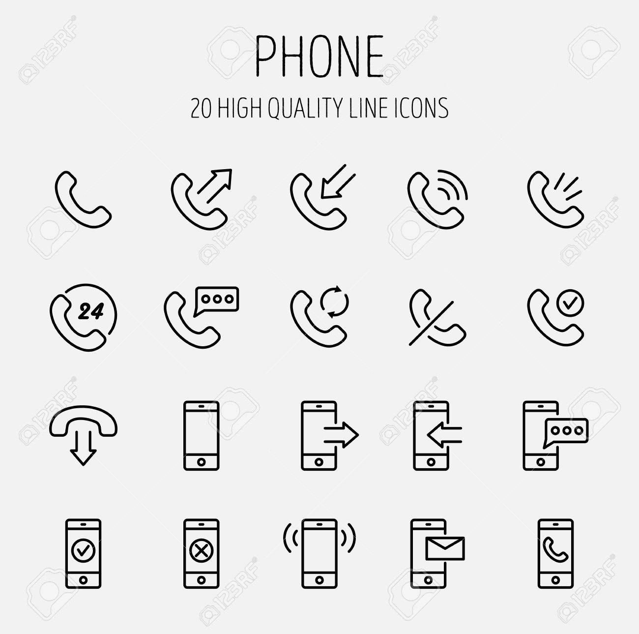 Set Of Phone Icons In Modern Thin Line Style High Quality Black