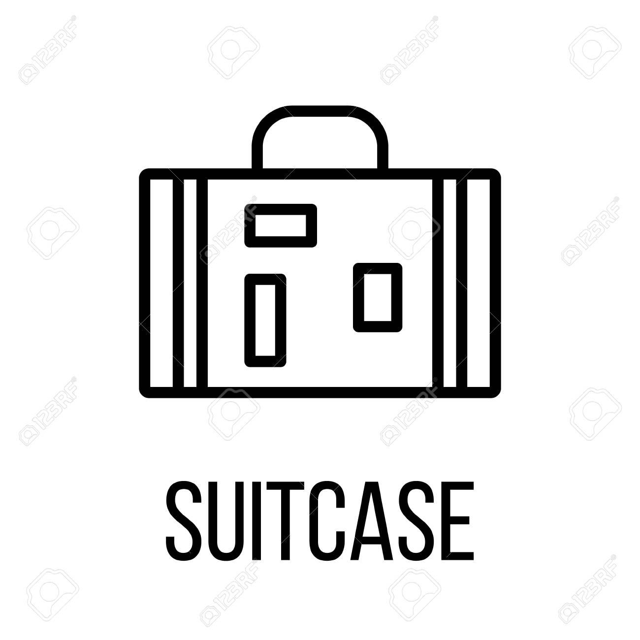 Icône de valise ou logo dans le style de ligne moderne. Pictogramme de contour noir de haute qualité pour la conception de sites Web et les