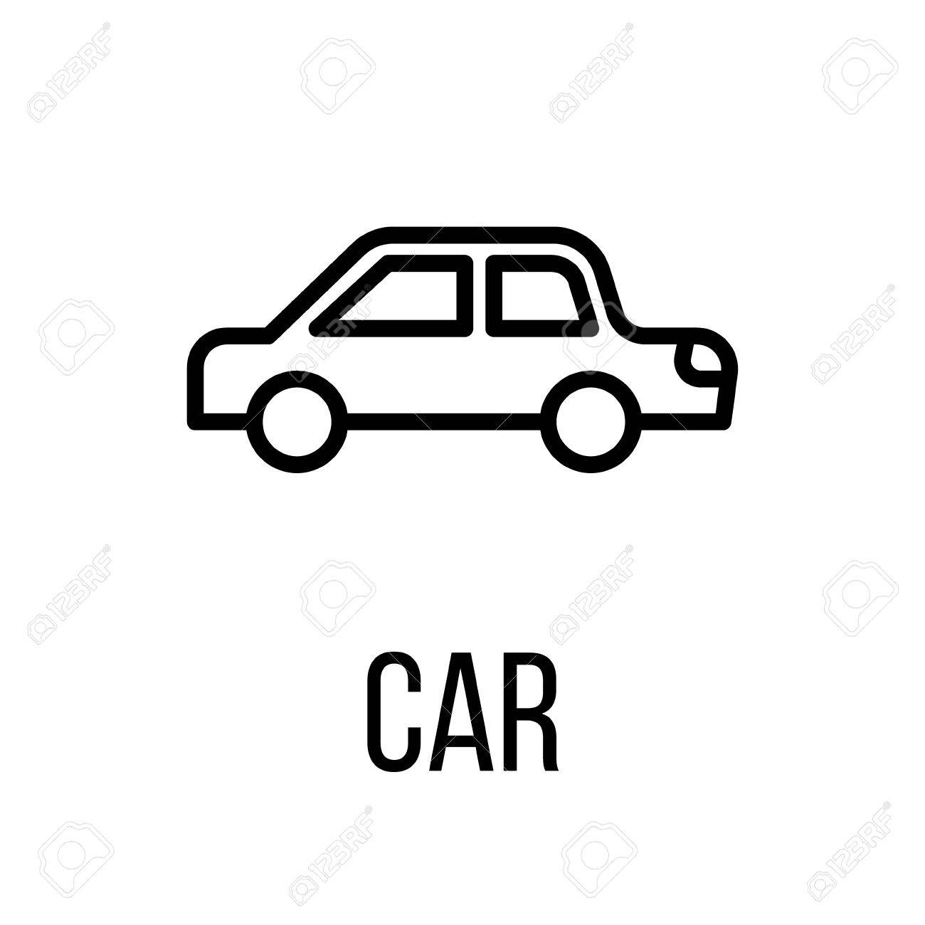 car icon or logo in modern line style high quality black outline