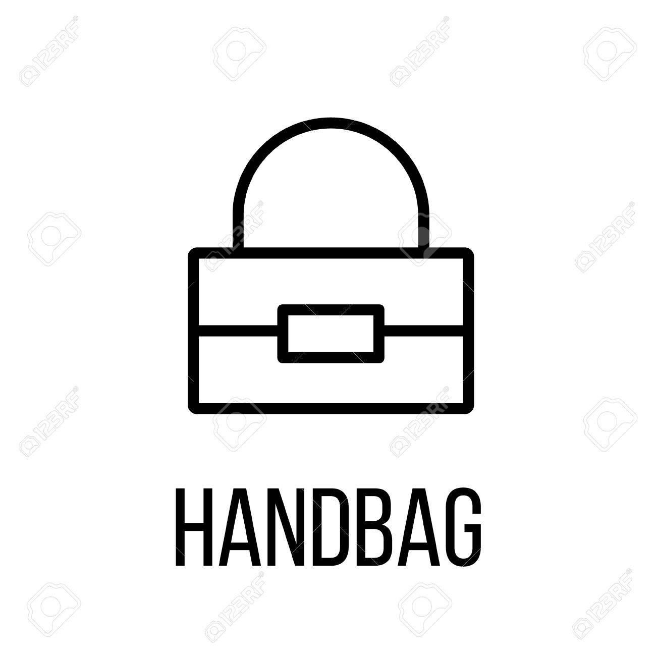 Icône de sac à main ou un logo dans le style de ligne moderne. Pictogramme de contour noir de haute qualité pour la conception de sites Web et les