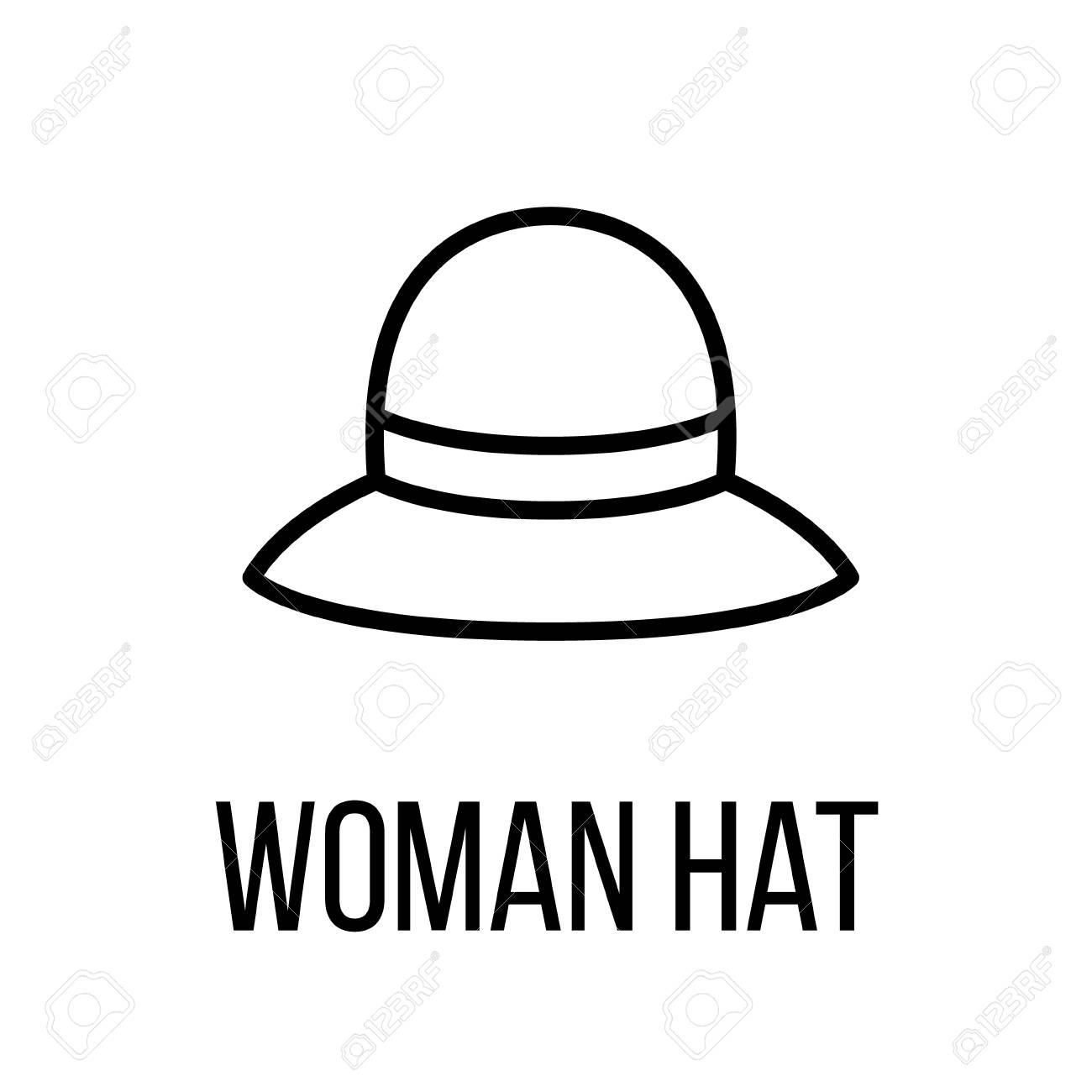 Icône de chapeau de femme ou logo dans le style de ligne moderne. Pictogramme noir de haute qualité pour la conception de sites Web et les
