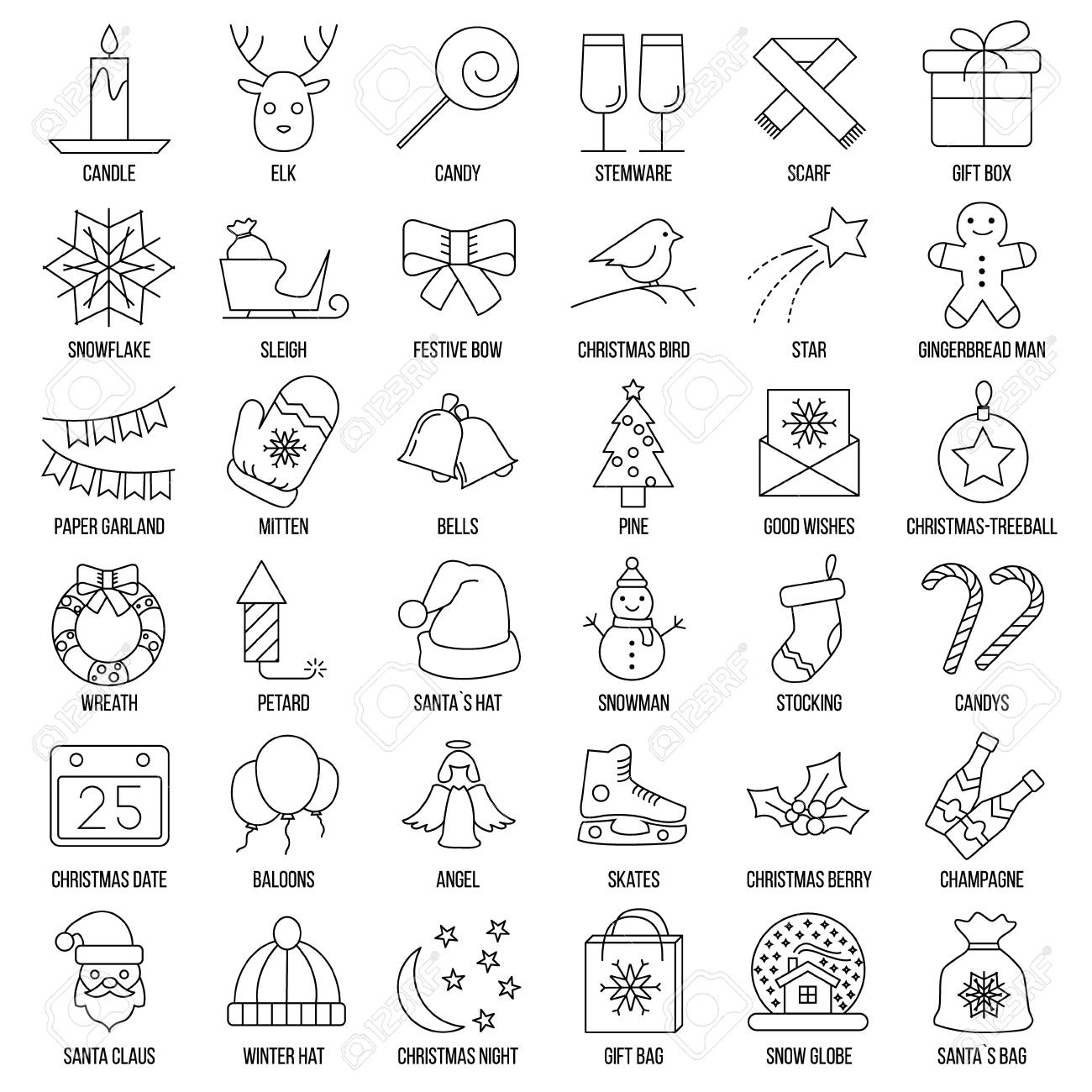 christmas and winter line icons set in single color vector clean